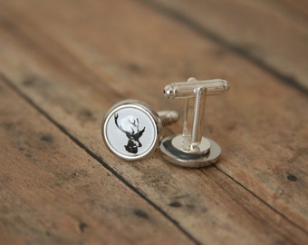 Stag Buck Cufflinks Deer Elk Mens Accessories - made with buttons with pictures