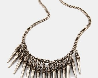 Silver SPIKED DAGGER Necklace Vtg 70's Chunky Chain HEAVY Bib Large Statement Long Layered Stick Pendant Rocker Goth Punk Edgy Minimalist