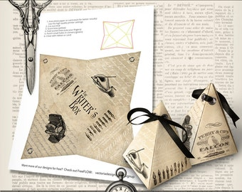 Writer's Box pyramid box printable diy paper crafting favor digital download instant download digital collage sheet - VDBXVI1409