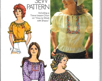 Peasant Top Blouse Pattern BOHO Hippie How to Sew Easy Shirt and Head Scarf Embroidery Transfer Simplicity 9827 Sz Medium 12 14