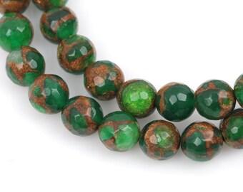 10mm EMERALD GREEN Composite Golden Quartz Round Beads, faceted, 1 strand, gmx0031