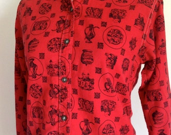 Mid Century Novelty Cotton Blouse - Vintage Red and Black Blouse - Size Small