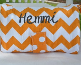 Burnt Orange Diaper Clutch with Coordinating Waterproof Changing Pad, Chevron and Polka Dots