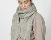 SALE -40% Fringed Dappled scarf in pearl white, grey and warm caramel beige colors
