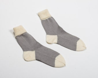 Handmade knitted socks - warm white and grey - knitting home socks