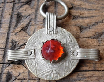 Moroccan tarnished red glass jewel large  coin pendant with three loops