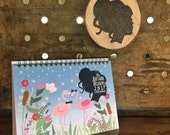 2017 Katygirl Designs Whimsical, Hand Drawn 5x7 Flip Calendar