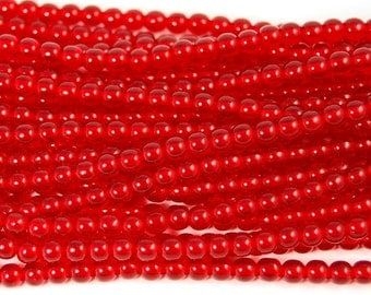 Siam Ruby Red 4mm round czech beads  - 100 Czech Beads