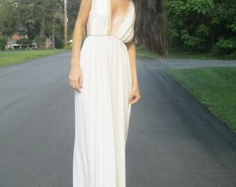 moon goddess - organic bamboo ivory maxi dress - bohemian boho chic hippie grecian festival beach wedding sundress