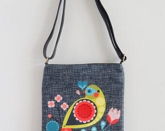 Folk bird, digitally printed fabric and leather sling bag