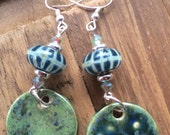 Lampwork and ceramic combo earrings