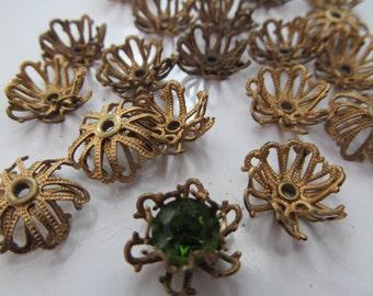 10 Vintage Brass Rivited Wire  Flowers
