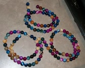 Mixed color striped Agate round beads (8 mm )- full strand