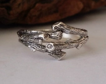 Mens Branch Wedding Band, Twig Engagement Ring, Sterling Silver, hand sculpted by Dawn Vertrees