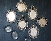 8 DIY Bridal Vintage Round and Oval Wedding Bouquet Charms Includes 6 pendants, and 6 glass cabochons  and adhesive Great gift for Bride