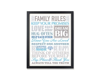 Family rules INSTANT DOWNLOAD Art Print, Printable art wall decor, family rules poster Abstract art - graphic digital in blue and grey