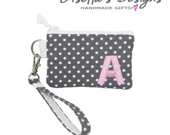 Personalized credit card wristlet wallet, Custom made coin purse, Small zipper pouch, reward card holder, College Colors available.
