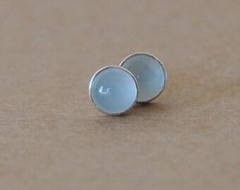 Aquamarine Earring Studs. 5 mm Milky Aquamarine gemstones set in sterling silver.