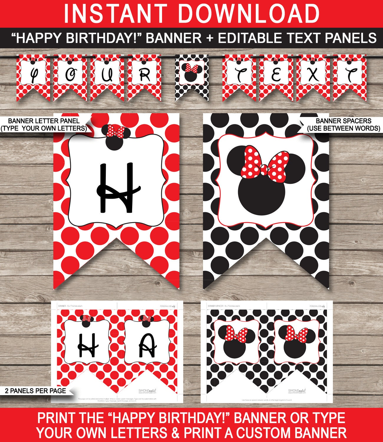 Red Minnie Mouse Party Banner Happy Birthday Banner Custom
