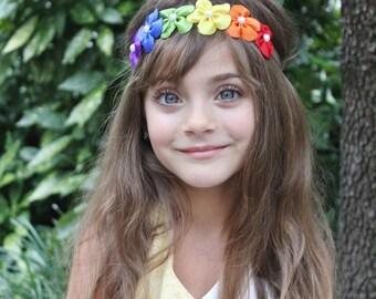 Rainbow Headband - Rainbow Flower Headband - Rainbow Hair Bow Party Photo Shoot
