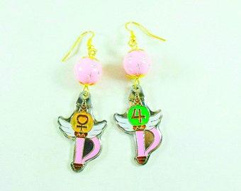 Gold Dangle Earrings, Sailor Moon Inspired Make-up  Womens Gift  Handmade