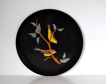 Vintage Round Couroc Tray Yellow Birds