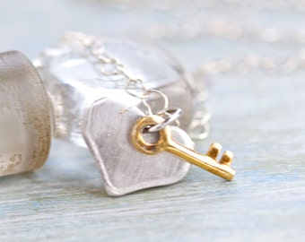 Heart and Key Necklace - Sterling silver Pendants on Chain