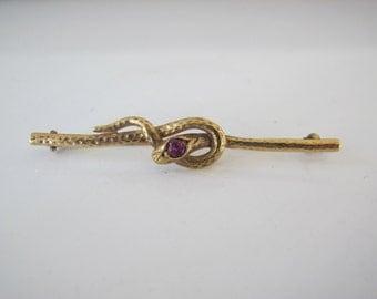 Victorian Era Antique 14k Yellow Gold Snake Serpent Pin Brooch