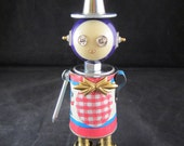 Gingham Bot - found object robot sculpture assemblage by Cheri Kudja with Bitti Bots
