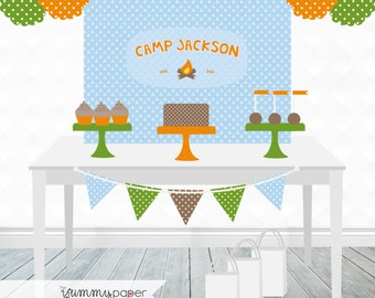 Printable Camping Party Backdrop - 3x4 ft. Personalized Printable Party Poster for Camping Themed Parties .. cp01