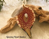 Organic Milkweed Pod dream catcher ornament - berry red with jobs tear seed and prayer feather
