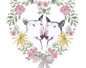 English Bull Terrier Wedding Engagement Anniversary Card Romance Floral Heart