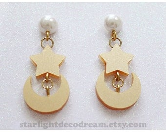 MADE to ORDER Star and Crescent Moon Earrings Sailor Moon Inspired Laser Cut Acrylic for Mahou Kei, Cosplay, Magical Girl Fashion