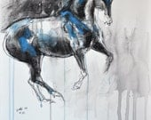 Horse in Canter Pirouette, Animal, Modern Original Fine Art, Watercolor and Black Chalk Painting of a Dressage Horse
