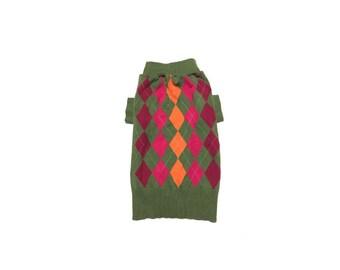 Designer Dog Sweater, Medium Green, Orange and Purple Argyle, Pet Puppy Apparel Clothes 0308