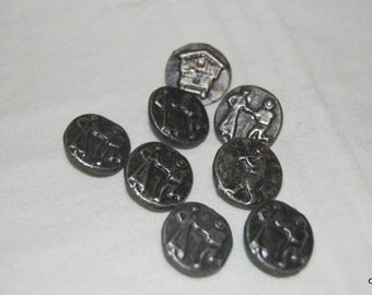 pewter buttons with figures dancing and playing and a wagon  #0153