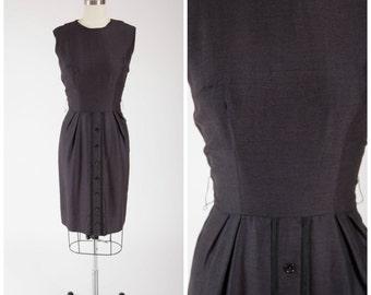 50s Vintage Dress Sleeveless Brown Rayon Acetate Blend 1950s Vintage Sheath Dress Size Medium