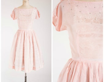Vintage 1950s Dress • Pastel Petals • Blush Pink Printed 50s Vintage Dress with Rhinestones Size Small