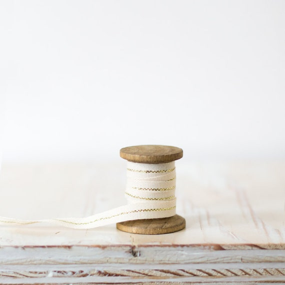 """Gold Metallic Center Stripe Natural Canvas Ribbon (with Wooden Spool) - 5 yards - 3/8"""" wide"""