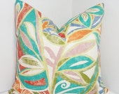 OVERSTOCK OUTDOOR Pillow Cover Turquoise Red Green Blue Orange Floral Design Patio Deck Pillow 18x18