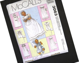 McCalls Christening Gown Pattern 3063 - Infant Baby Dress Romper Bonnets - Size NB to L - Uncut Factory Folded - Baptism Gown - DIY Sewing