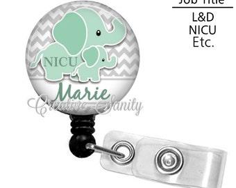 Retractable Badge Holder, Personalized NICU Nurse Grey Chevron/Elephants, Choice of Badge Reel, Carabiner, Lanyard or Stethoscope ID Tag