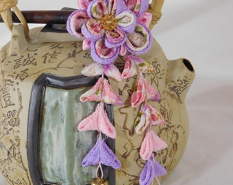 Purple With Pink and Print Double Sakura Hair Stick Tsumami Kanzashi