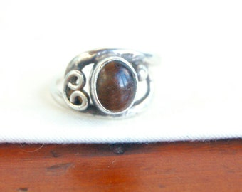Tigers Eye Ring Size 8 Vintage Mexican Sterling Silver Amber Molasses Southwestern Jewelry from Mexico
