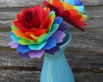 Two Rainbow Dahlias. ROYGBIV. Wedding, Gift, Decoration, Anniversary, Birthday, Gay Pride.