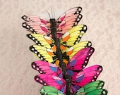 New Item! Bright Rainbow Feather Butterflies 12 Monarch Bird Feather Butterflies 3 Inch Wingspan Size / More colors available
