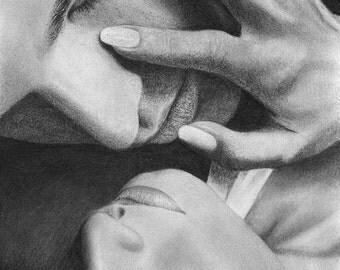 Love Couple Romance Original Pencil Drawing Portrait Graphite Realisic Realism