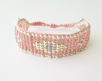 Bead Loom Bracelet - Rose and Silver Beaded Bracelet