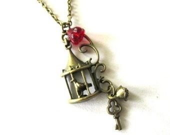 Birdcage necklace jewelry antique bronze brass bird cage charm necklace vintage style with red czech flower