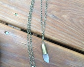 Bullet crystal necklace, bullet necklace, 45mm bullet necklave, long bullet necklace